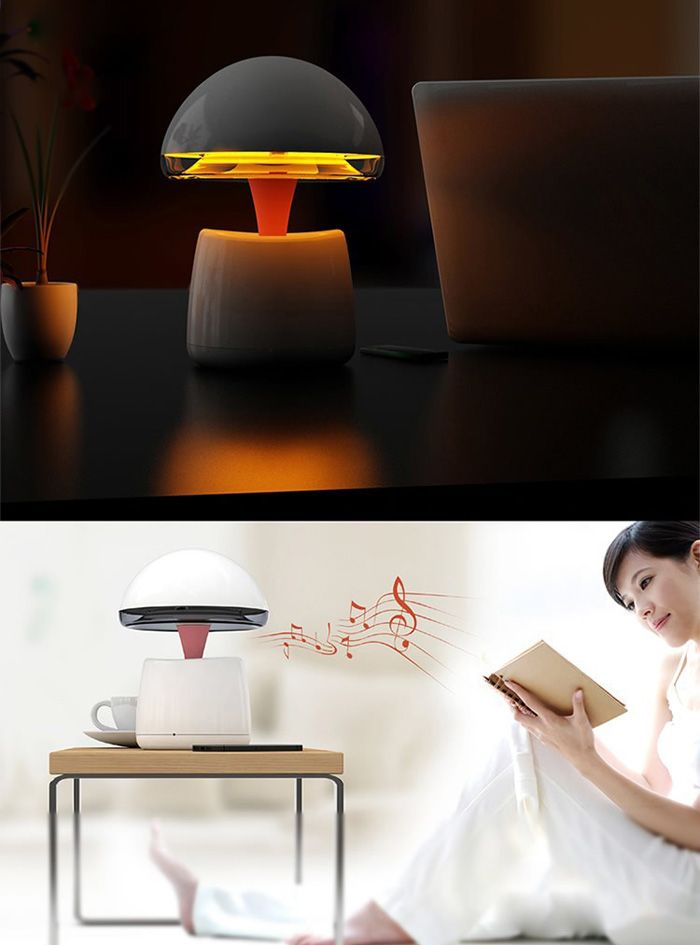 A LA Magic Lamp 3 in 1 High Performance Night Light Alarm Clock Wireless Bluetooth Speaker Built - in Lithium Battery with Remote Control for Mobile Phone Computer-53.56 and Free Shipping| GearBest.com
