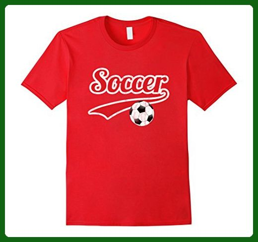 Mens Soccer T Shirt Gift Futbol Red 2XL Red - Sports shirts (*Amazon Partner-Link)