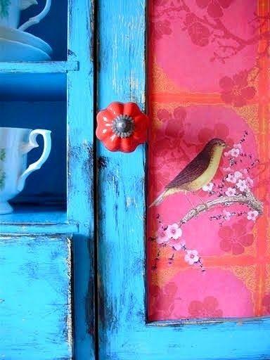 Gypsy Interior Design Dress My Wagon| Serafini Amelia| RV Design Inspiration-Colorful Cupboard-Bird Motif