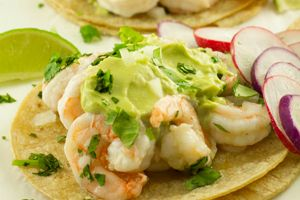 Shrimp Tacos with California Avocado Mojo de Ajo (creamy avocado garlic sauce) Recipe | California Avocado Commission