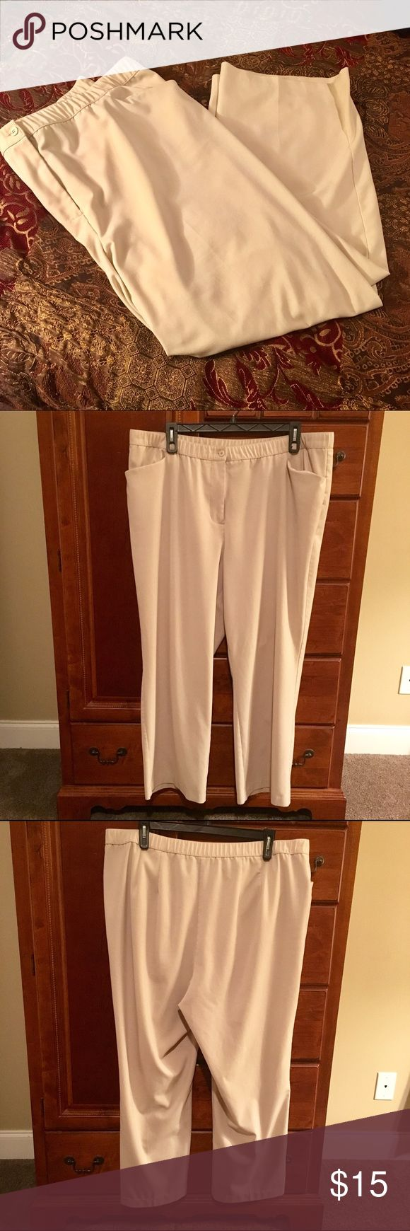 "Liz & Me Cream Plus Size  Dress Pants 24W Comfortable & Chic Cream Dress Pants from Catherines, size 24W, refined. Extremely soft &  comfy, they also are stretchy with a stretch panel on back.   63% Polyester - 33% Rayon - 4% Spandex  Waist can be from 42"" - 47"" stretched comfortably Length 43"" Inseam 30""  Excellent Condition. All items come from a clean smoke/pet free home. thanks ☺️ Liz & Me Pants"