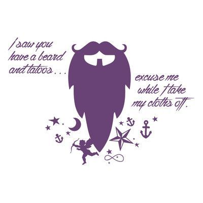 "The Decal Guru Beard Funny Quote Wall Decal Size: 22"" H x 32"" W x 0.01"" D, Color: Violet"
