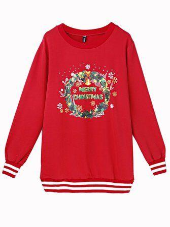Merry Christmas Letters Printed Women Red Long Sleeve Pullover Sweatshirt