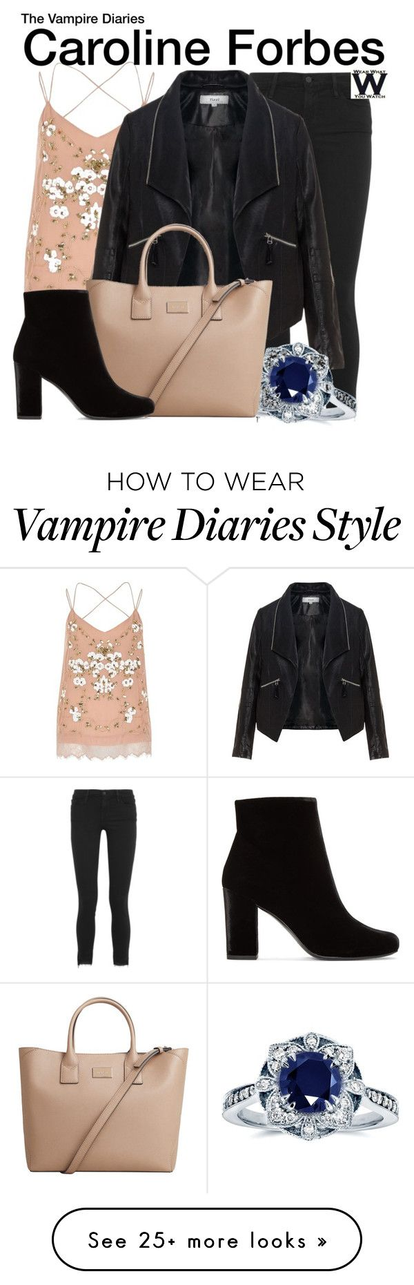 """""""The Vampire Diaries"""" by wearwhatyouwatch on Polyvore featuring River Island, Frame, Zizzi, Kobelli, MANGO, Yves Saint Laurent, television and wearwhatyouwatch"""