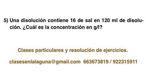 Ejercicio 5 propuesto de Concentración de disoluciones: gramo / litro