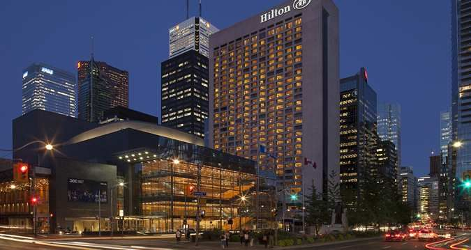 Hilton Toronto Hotel, Ontario Canada - Hotel Exterior at Night