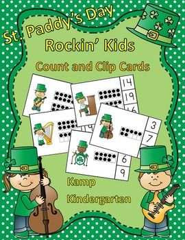 St. Paddy's Day Rockin Kids Count and Clip Cards (Quantities to 20) $  #StPatricksDay  #KampKindergarten  #music  StPatricksDayMath https://www.teacherspayteachers.com/Product/St-Paddys-Day-Rockin-Kids-Count-and-Clip-Cards-Quantities-to-20-1707511