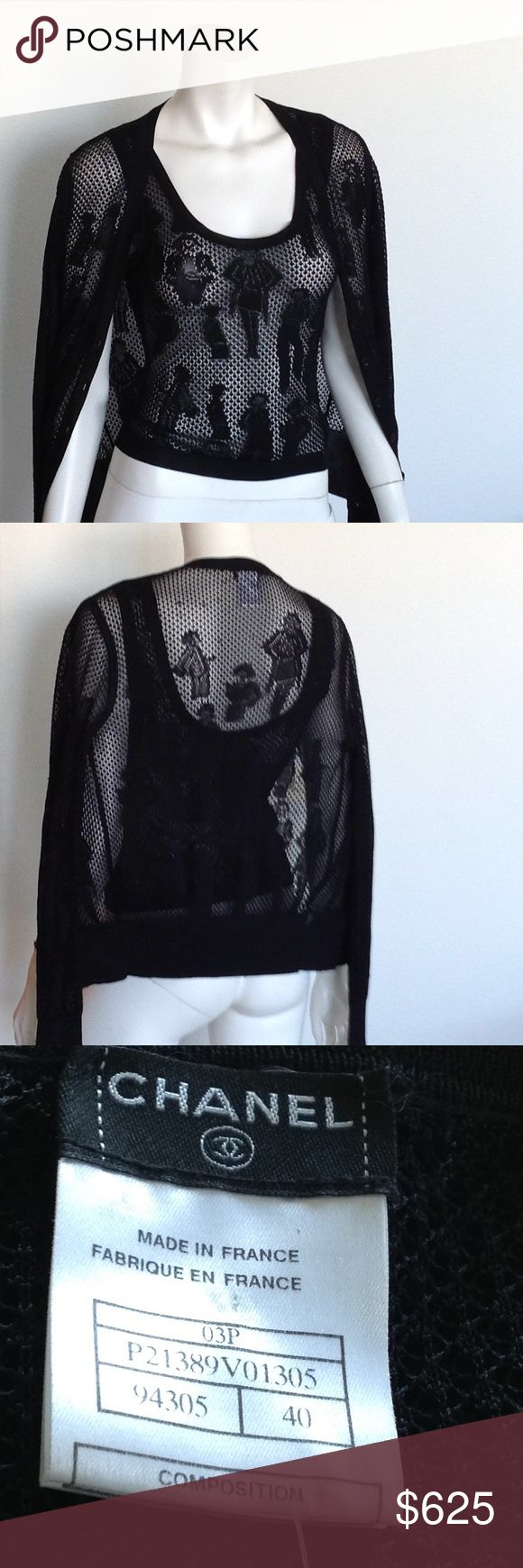 CHANEL Sweater set Gorgeous black coco graphics lacy tank and cardigan French 40 US M Made of 100% viscose CHANEL Sweaters Cardigans