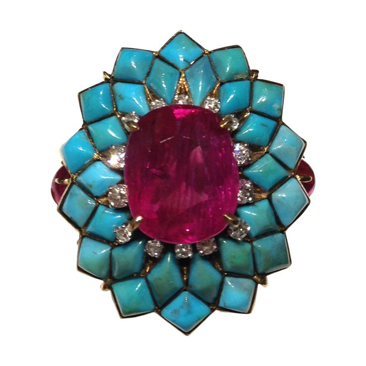 Ruby and Turquoise Cocktail Ring | From a unique collection of vintage fashion rings at https://www.1stdibs.com/jewelry/rings/fashion-rings/