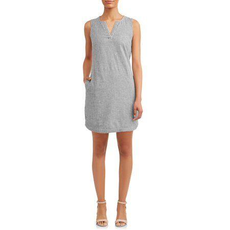 e07d2677c87e3 TIME AND TRU - Women's Woven Notch Neck Shift Dress - Walmart.com