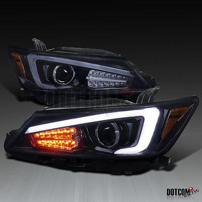 2011-2013 Scion tC Coupe Glossy Black LED Signal Light Projector Headlights