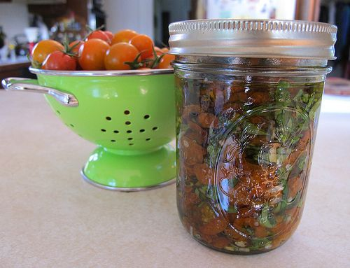 Oven Dried Sun Gold Cherry Tomatoes:  Eat with cheese and crackers, with a schmear of goat cheese on a baguette, over lettuce greens (it's like a chunky salad dressing), over pasta, over quinoa or bulgur wheat for instant tabouli, or straight out of the jar.