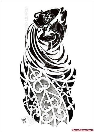 59c3f4d144f1c Cool Tribal Aquarius Tattoo Design | Michael | Aquarius tattoo ...