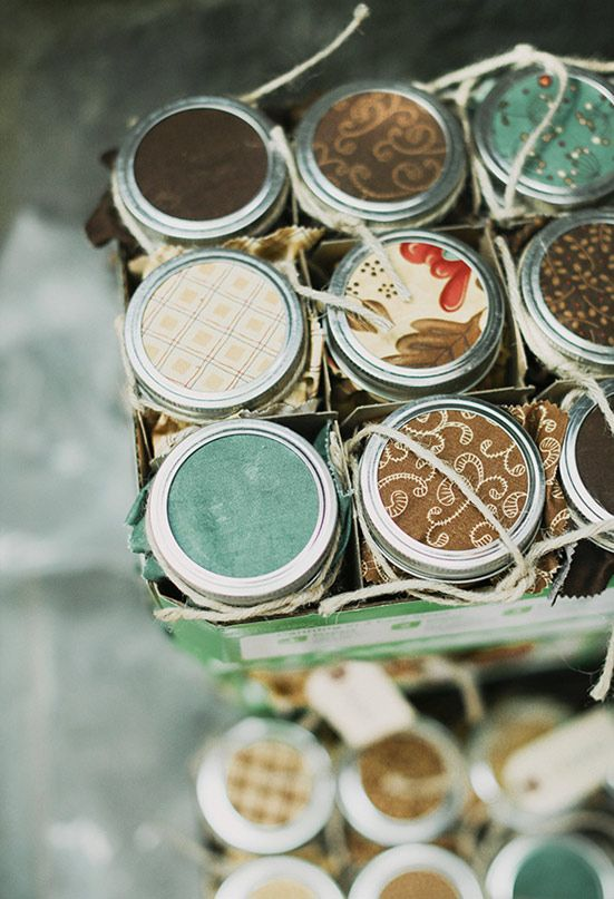 vintage napkin jam wedding favors | Photo by Michele M. Waite