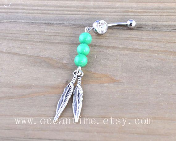 Dream catcher Belly Button Rings,Navel Jewlery, Dream catcher belly button ring,green bead, summer jewelry on Etsy, $5.99