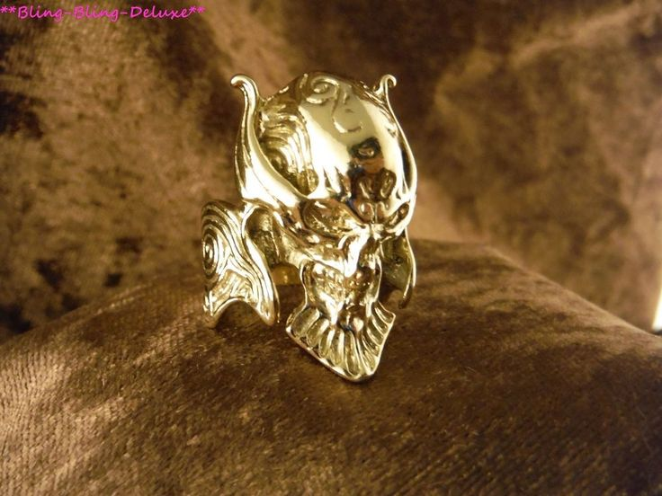 Biker Ring Schädel 24 Karat Vergoldet Skull Fashion Punk Edelstahl Gold Gothik
