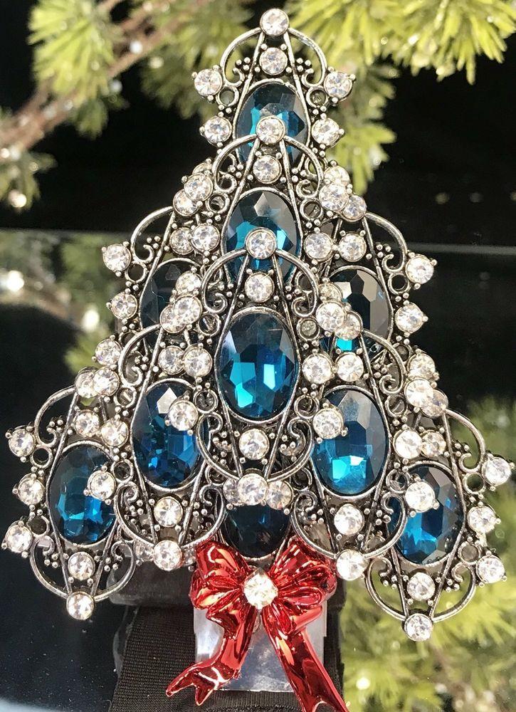 Vintage Rhinestone Christmas Tree Pin Brooch Aqua Teal Beauty! LaHeir   eBay