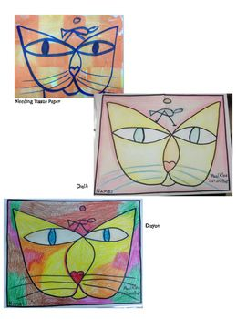 """Use this template to help teach kids about Paul Klee.  Use the """"W"""" to instruct how to draw """"Cat and Bird"""" or use the one already drawn. The recommended materials are on the lesson plan, but the project is flexible for many art materials.   Examples of a few materials are shown.  Enjoy learning about Shape and Paul Klee!   https://www.teacherspayteachers.com/Product/Paul-Klee-Cat-and-Bird-Art-Lesson-Template-2555756"""