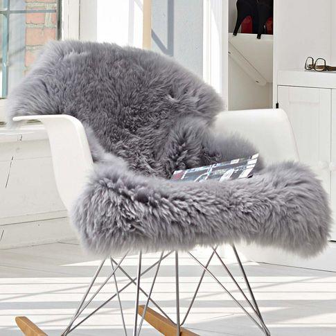 ♥Chaise à bascule et peau de mouton Ikea grise