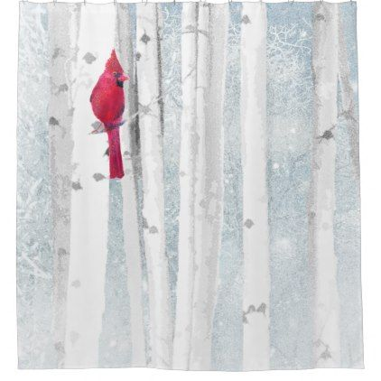 Red Cardinal Bird in beautiful snowy Birch Tree Shower Curtain - shower curtains home decor custom idea personalize bathroom