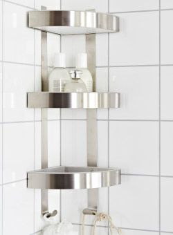 Grundtal Corner Wall Shelf Unit Stainless Steel Bathrooms Bathroom Shelves