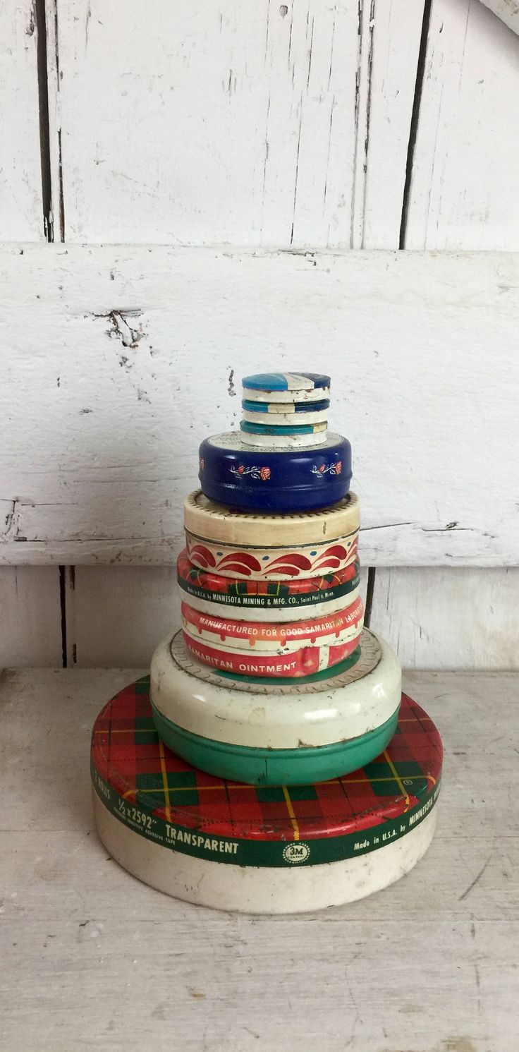 Small round tins collection nine tin vintage collectible tins Scotch cellophane tape, by LititzCarriageHouse on Etsy