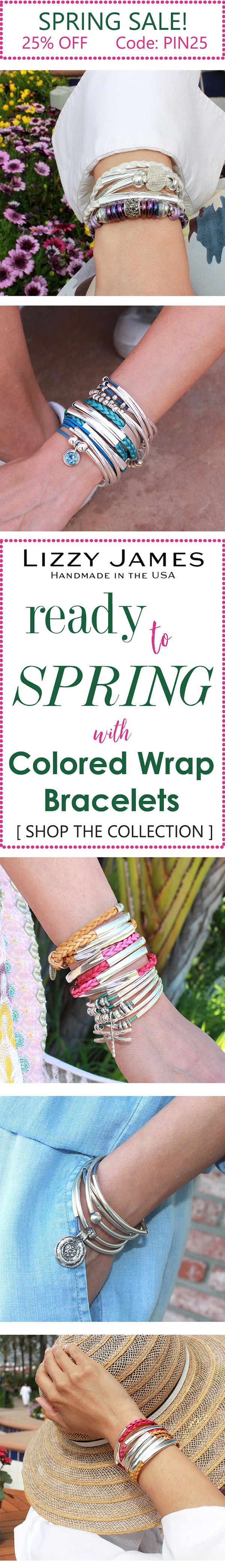 New colored leather & silver wrap bracelets that can be worn as necklaces get 25% OFF + FREE Shipping with coupon code PIN25. Let Lizzy James Jewelry help you stay in style this Spring by adding silver and gold to your wrist...plus a dash of bright leather colors- in cord and braided leather. In addition to braided leather wrap bracelets, we offer necklaces, earrings and sterling silver rings. Our designs fit all wrist sizes from petite to plus size. Proud to be made in the USA!  #lizzyjames