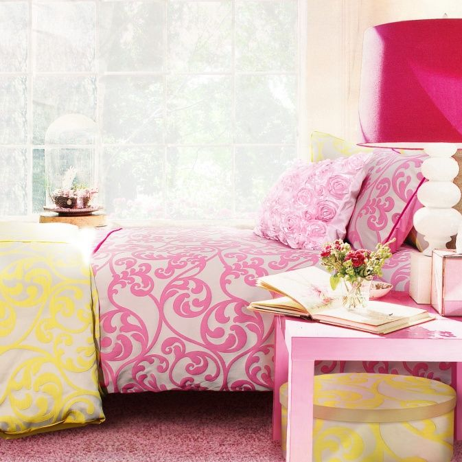Pink glam room 17bestroomever architectural design - Pink and yellow comforter ...
