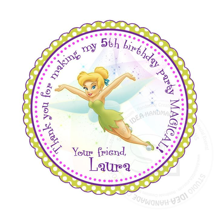 """Custom Stickers- Tinkerbell Thank you Birthday 2.5"""" STICKERS-Purple-Green -Pink Tinkerbell Thank you 2.5"""" Stickers by StudioIdea on Etsy"""