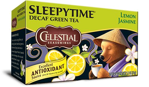 Celestial Seasonings Sleepytime Decaf Lemon Jasmine Green Tea: Chamomile, decaffeinated green tea, spearmint, lemongrass, natural lemon and jasmine flavors with other natural flavors, tilia flowers, hawthorn, orange blossoms, ascorbic acid (Vitamin C) and rosebuds