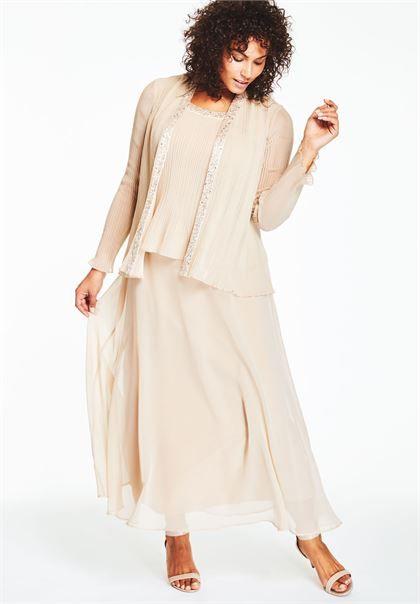 Pleated Jacket Dress | Plus Size Wedding Guest | Roamans