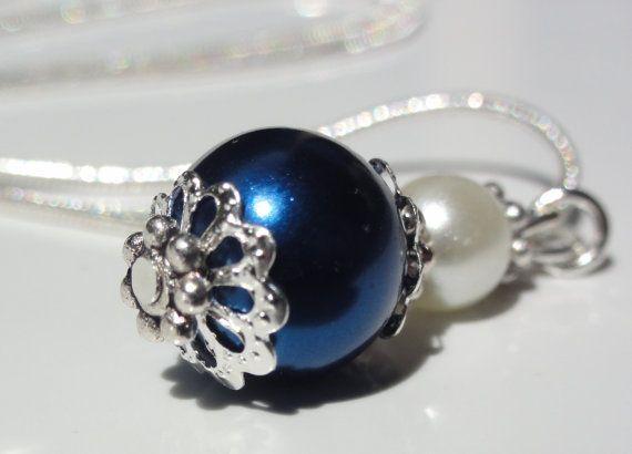 Pear NecklaceBridesmaid blue by StunningGemsJewelry on Etsy