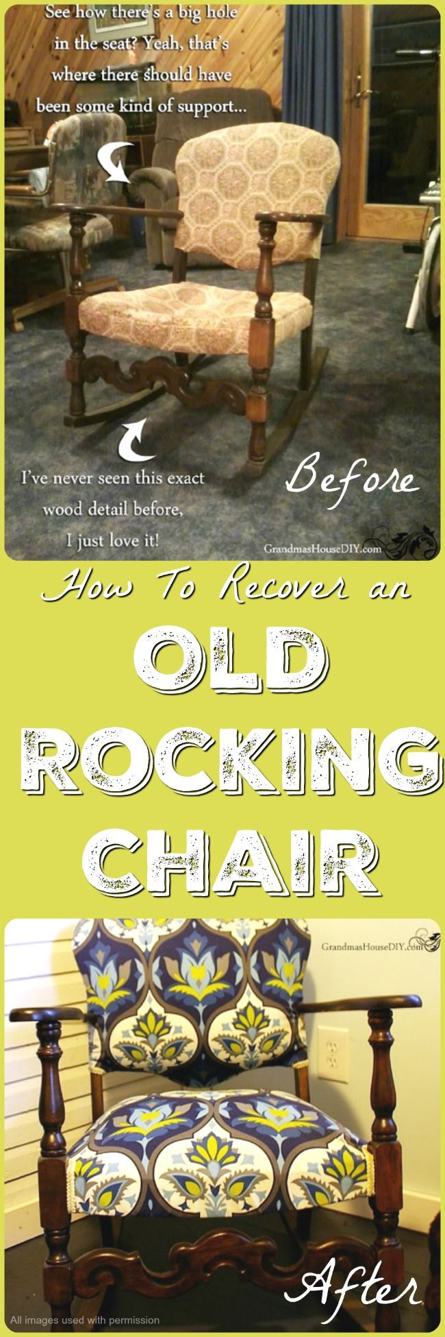 Today's featured DIY project is focused on how to restore, recover or reupholster and refinish an old rocking chair. The nice thing about old furniture is that it has generally been built very well. Not only has old furniture been built well, there's also some beautiful woodworking and finishing...