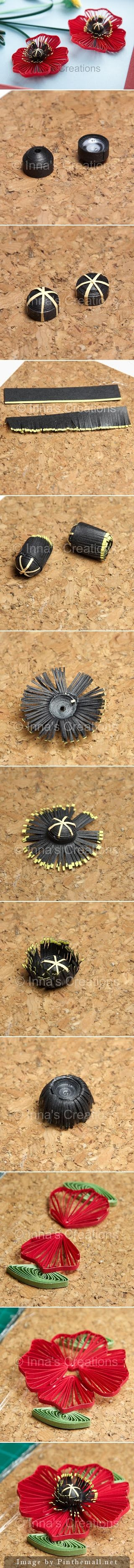 Quilled poppies step-by-step, part 2