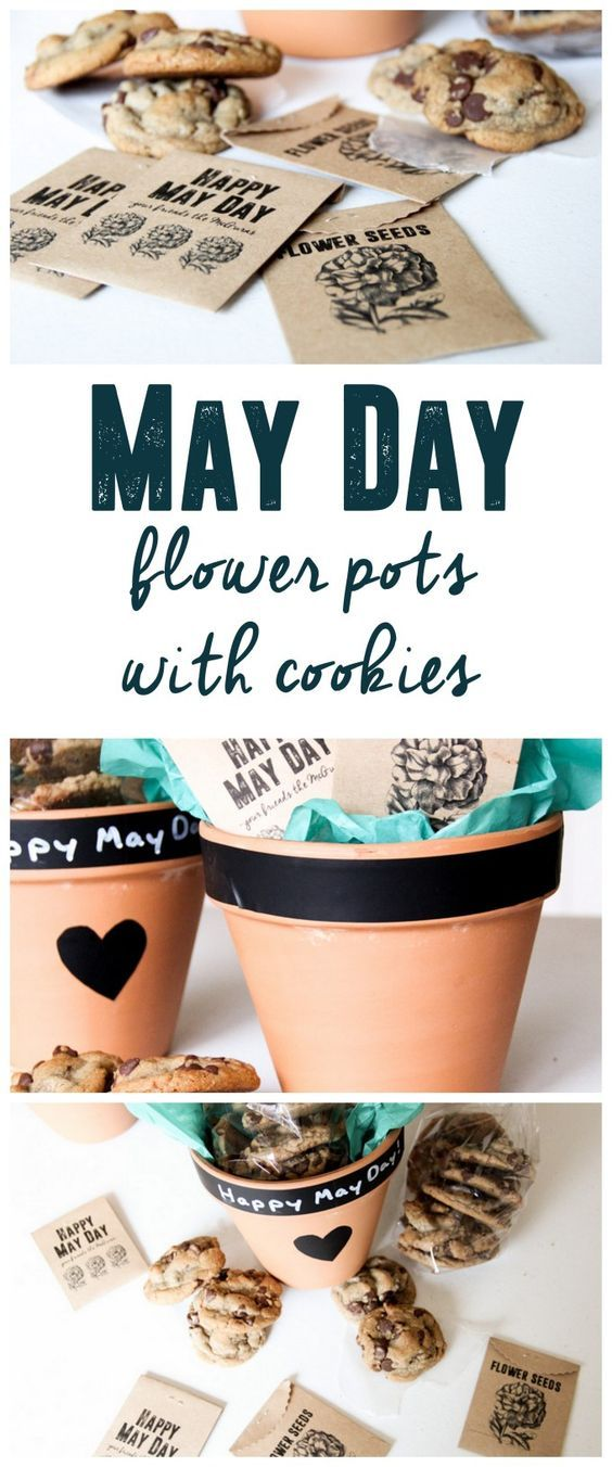 May Day Flower Pots with Cookies, May Day Basket www.BrightGreenDoor.com