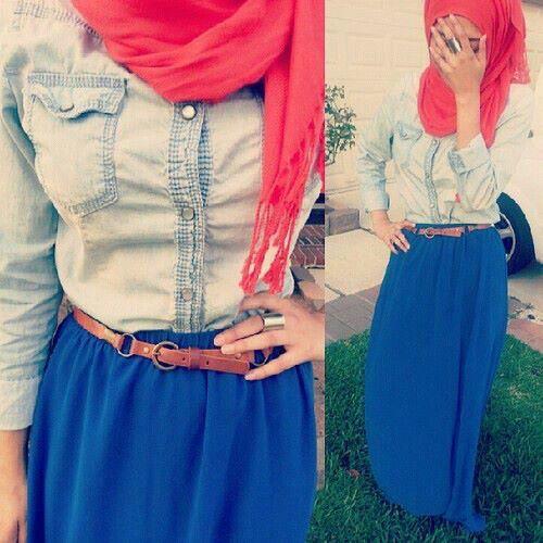 #hijab #maxiskirt #denimshirt