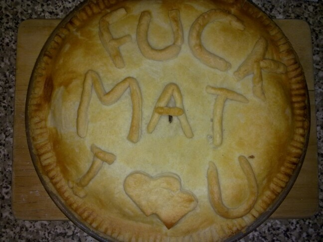 Write pastry messages on pies with left over pastry :D