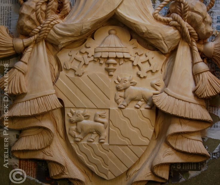 Best heraldic woodcarving family coat of arms carved