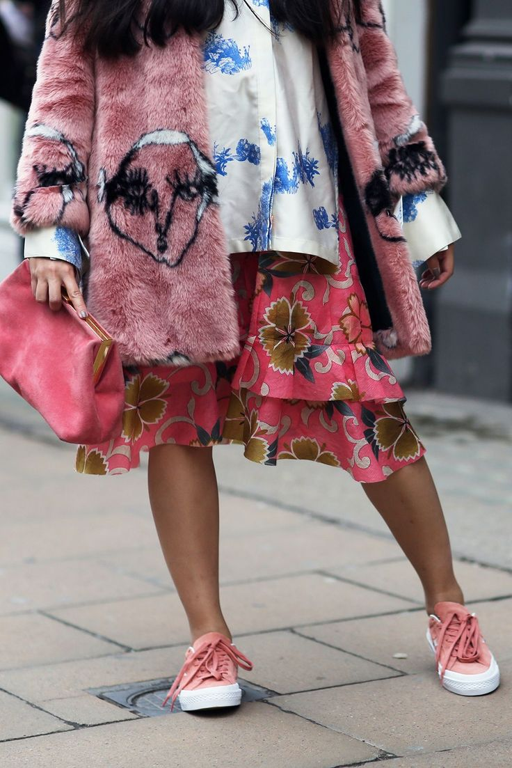 40+ Street Style Looks That Slayed London Fashion Week #refinery29  http://www.refinery29.com/2016/09/123831/lfw-spring-2017-best-street-style-outfits#slide-39  A masterclass in maternity dressing, courtesy of Susie Bubble. Never have so many colors and patterns looked so good together.Shrimps coat, Mansur Gavriel bag....