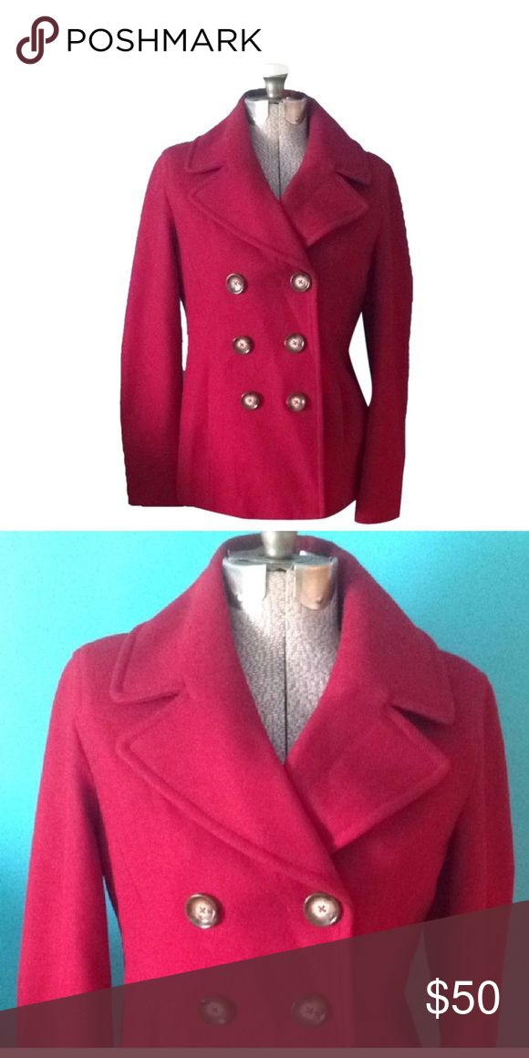 Michael Kors red pea coat size S Red Michael Michael Kors pea coat. Per tag the size is a medium. Made in The Dominican Republic. The buttons on the front have Michael Kors etched. MICHAEL Michael Kors Jackets & Coats Pea Coats