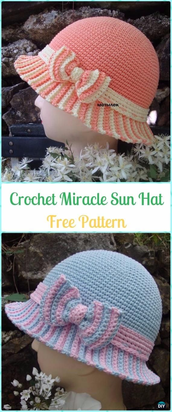 Crochet Miracle Sun Hat with Bow Free Pattern - #Crochet Sun Hat Free Patterns