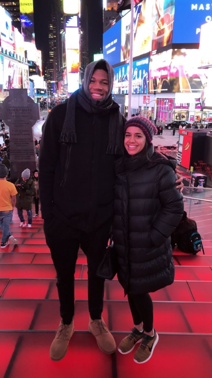 Giannis Antetokounmpo and his girlfriend at Time Square in ...