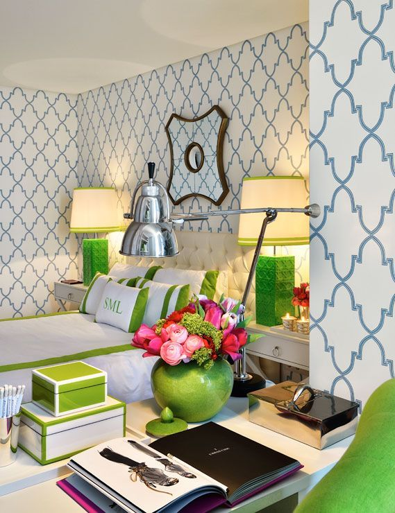 Thinking I want this wallpaper in green in kitchen??  Preppy Bedroom - blue and kelly green. Pink pops, graphic patterns, monogram pillow, fab green lamps. Anna Cordeira Design