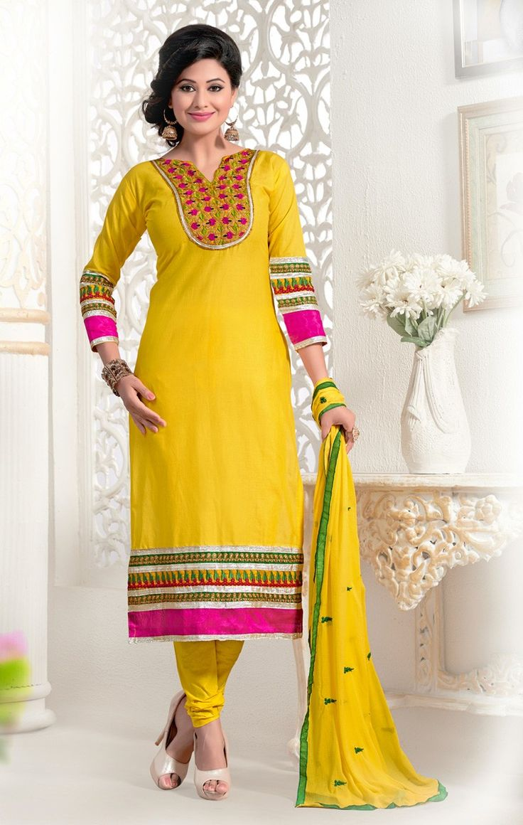 Cotton Cambric Resham & Sequins Work Yellow Churidar Suit - 1008 at Rs 1532