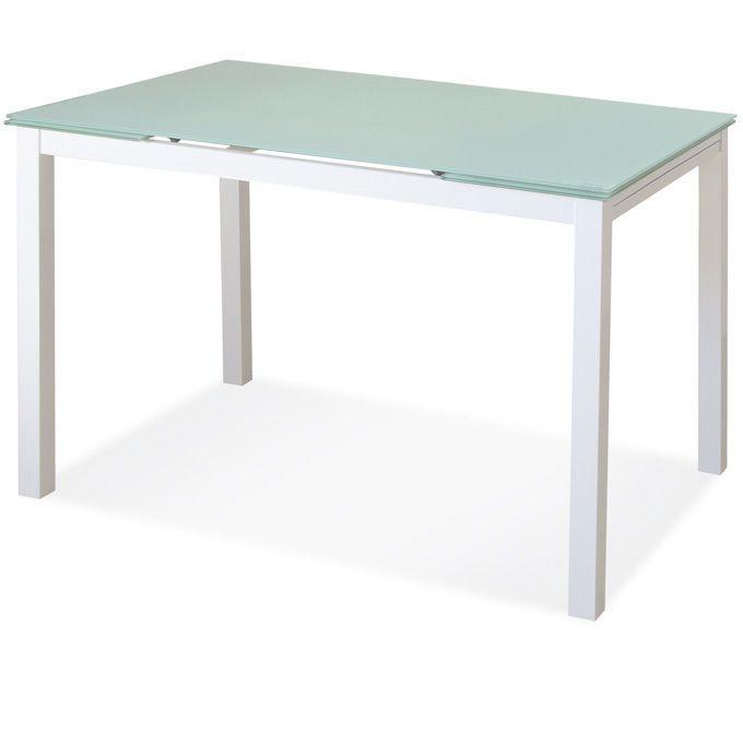 Tavolo allungabile in vetro  tinta bianco temperato e metallo cm 80 x80 A14365