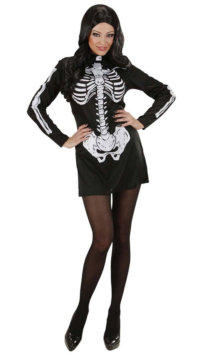 Sexy Skelett Halloween Damenkostüm schwarz-weiss , günstige Halloween Kostüme bei HorrorKlinik, der größte Halloween Kostüm- und Partyartikel Online Shop Europas!