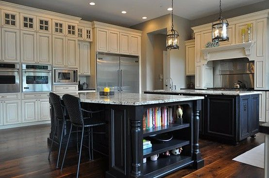Dark island w cream colored cabinets silver hardware project kitchen cabinets pinterest - White kitchen with dark island ...