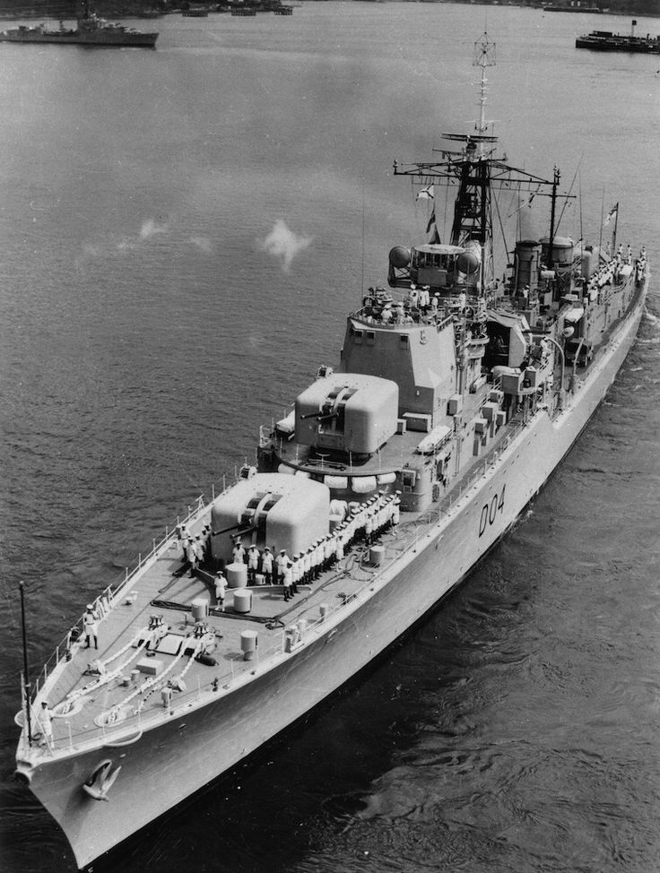 HMAS Voyager, D04. Daring Class Destroyer. Sister to Vendetta D08 and Vampire D11. Replaced by HMAS Duchess D154 (ex Royal Navy) after a famous collision with HMAS Melbourne on the 10th of February 1964. 82 of the 314 ships company died as a result.