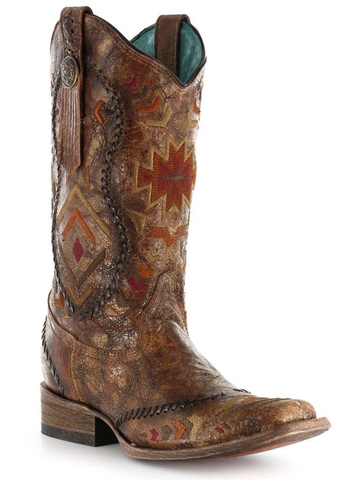 Corral Cognac Multi-Color Ethnic Square Toe Boots C2915