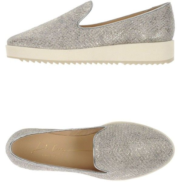 Lola Cruz Loafer ($56) ❤ liked on Polyvore featuring shoes, loafers, grey, wedge heel shoes, gray wedge shoes, grey leather shoes, leather wedge shoes and leather shoes